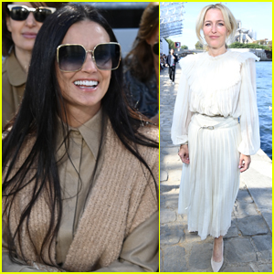 Demi Moore & Gillian Anderson Step Out for Chloe's Outdoor Fashion Show in Paris