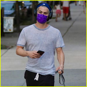 Dylan O'Brien Masks Up While Taking His Dog for a Walk in NYC