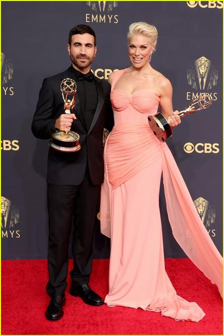 Brett Goldstein and Hannah Waddingham at the Emmy Awards 2021