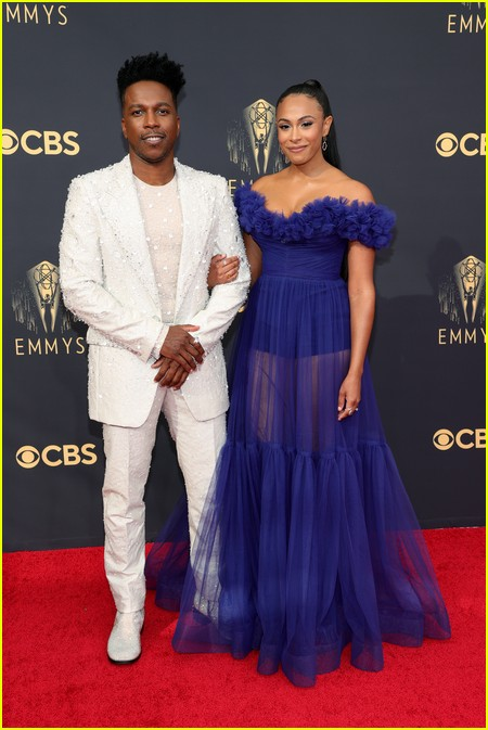 Leslie Odom Jr. and Nicolette Robinson at the Emmy Awards 2021