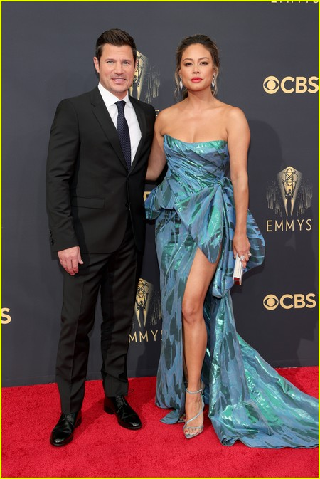 Nick Lachey and Vanessa Lachey at the Emmy Awards 2021