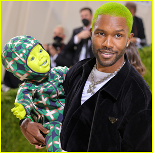 Frank Ocean Carries Lime Green Robot Baby with Him at Met Gala 2021