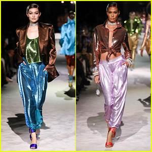 Gigi Hadid Models Bold Jewel Colors For The Tom Ford Fashion Show With Joan Smalls