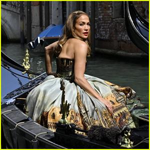Jennifer Lopez Poses for Glamorous Photo Shoot in a Gondola Before Leaving Venice
