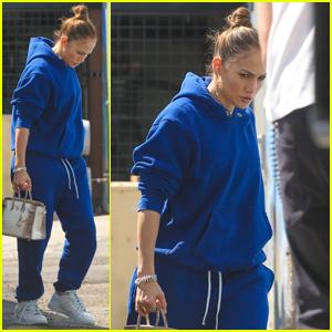 Jennifer Lopez Rocks an All-Blue Sweatsuit for a Studio Session in Burbank