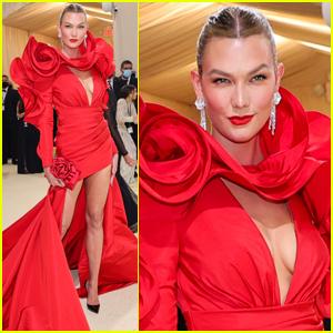 Karlie Kloss Goes Red Hot for Met Gala 2021