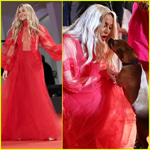 Kate Hudson Plays With A Dog At The Premiere of 'Mona Lisa And The Blood Moon' at Venice Film Festival 2021