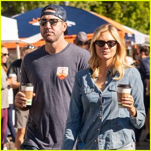 Kate Upton & Husband Justin Verlander Pick Up Coffee During Morning Outing in Aspen