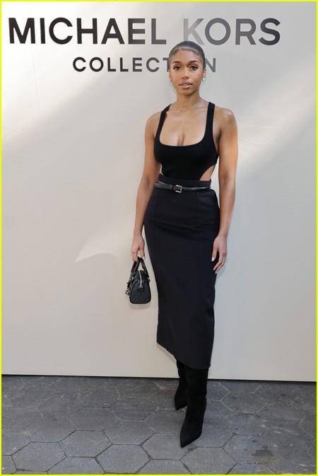 Lori Harvey at the Michael Kors fashion show during NYFW 2021