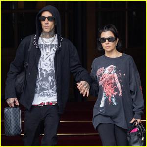 Kourtney Kardashian & Travis Barker Journey to France Amid DM Drama With Exes