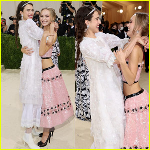 Lily-Rose Depp & Margaret Qualley Share a Sweet Moment Together at the Met Gala 2021