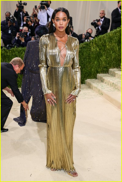 Laura Harrier on the Met Gala 2021 Red Carpet