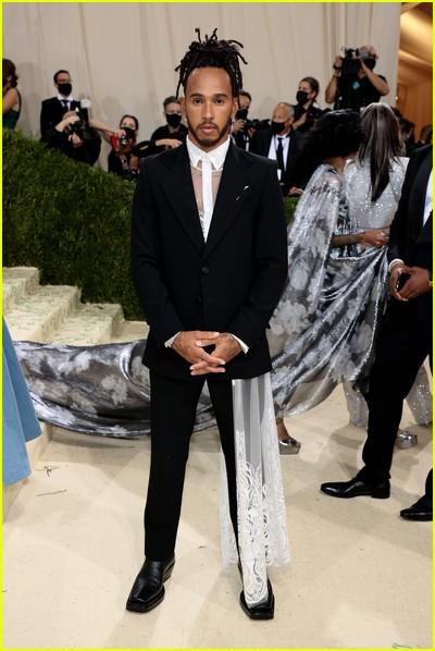 Lewis Hamilton on the Met Gala 2021 Red Carpet