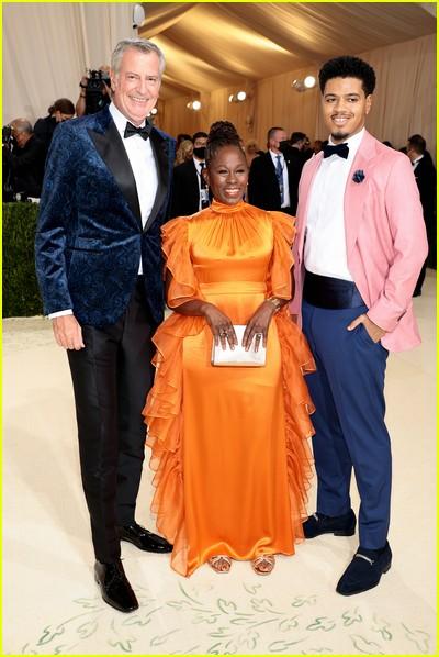 Bill de Blasio, Chirlane McCray, Dante de Blasio on the Met Gala 2021 Red Carpet