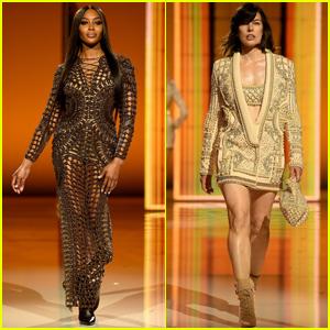 Naomi Campbell & Milla Jovovich Strut the Runway in Balmain's Paris Fashion Week Show!