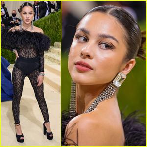 Olivia Rodrigo Rocks Sheer & Feathered Jumpsuit to Met Gala 2021
