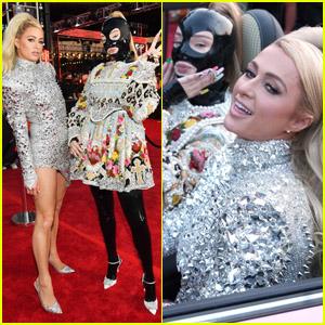 Kim Petras & Paris Hilton Arrive in a Pink Convertible at the MTV VMAs 2021
