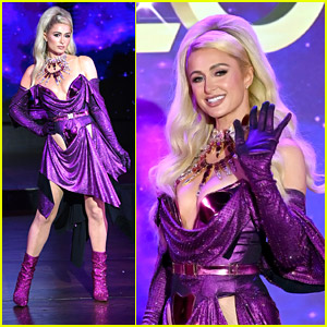Paris Hilton Rocks Purple Dress & Pink Boots On The Runway For The Blonds Fashion Show