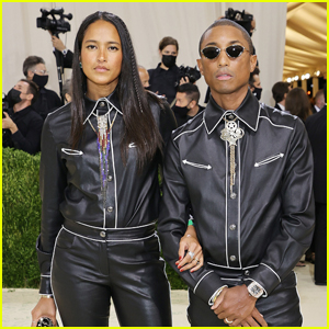 Pharrell Williams & Wife Helen Match in Leather Cowboy-Inspired Outfits for Met Gala 2021