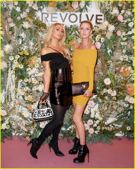 Paris and Nicky Hilton at the Revolve Gallery event during NYFW