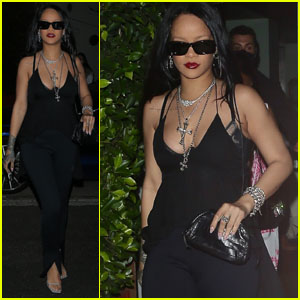 Rihanna Rocks All-Black Outfit for Dinner in Santa Monica