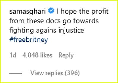 Sam Asghari comments on Netflix post
