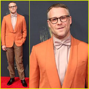 Seth Rogen Suits Up In An Orange Jacket For Emmy Awards 2021