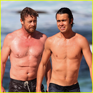Simon Baker Goes Shirtless During Beach Day with 22-Year-Old Son Claude - See Photos!