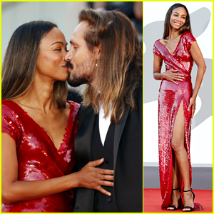 Zoe Saldana Shines in Red at Venice Film Festival Premiere with Husband Marco Perego