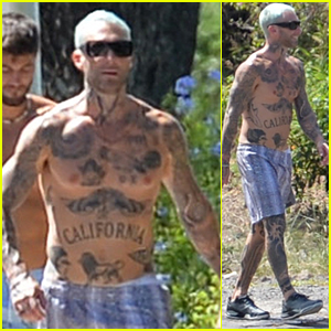 Adam Levine Shows Off His Tattoos During a Shirtless Walk in Hawaii