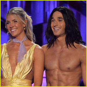 Alan Bersten Goes Shirtless to Play Tarzan Alongside Amanda Kloots on 'DWTS' Disney Heroes Night (Video)