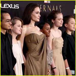 Angelina Jolie Brings Five of Her Kids to 'Eternals' Red Carpet Premiere - See Photos!