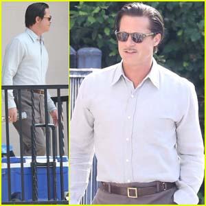 Brad Pitt Sports Slicked-Back Hair & Mustache on the Set of 'Babylon'