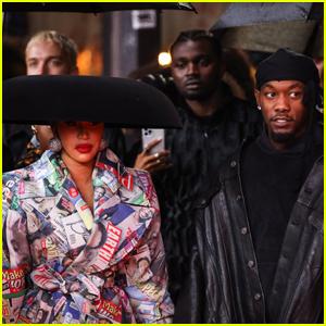 Cardi B Wears Dome-Shaped Hat to Balenciaga Fashion Show with Husband Offset