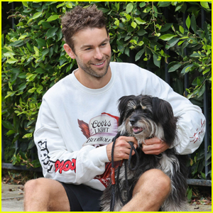 Chace Crawford Enjoys Some Cuddles with His Dog Shiner During Their Morning Walk!