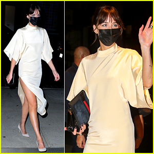 Dakota Johnson Wears High Slit Dress for 'The Lost Daughter' Event in NYC