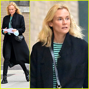 Diane Kruger Layers Up In A Black Trench While Running Errands Around NYC