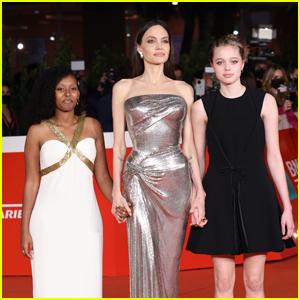 Zahara & Shiloh Jolie-Pitt Support Mom Angelina Jolie at 'Eternals' Rome Premiere