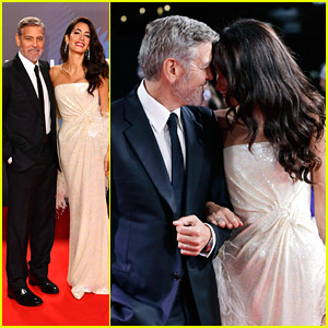 George Clooney Has The Cutest Red Carpet Moment With Amal Clooney at 'Tender Bar' Premiere in London