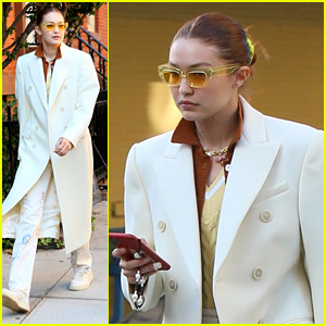 Gigi Hadid Looks So Stylish In A Long, White Coat While Out With A Friend in NYC