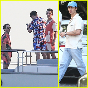 Joe Jonas Joins His Brothers Nick & Kevin on a Yacht After Being Spotted Filming for a Special Project