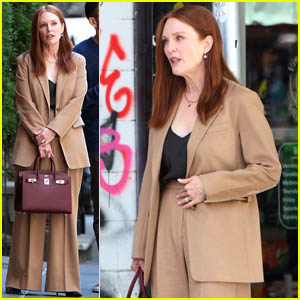 Julianne Moore Suits Up on the Set of 'Sharper' in NYC