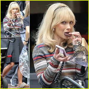 Juno Temple Grabs A Chocolate Snack on 'The Offer' Set