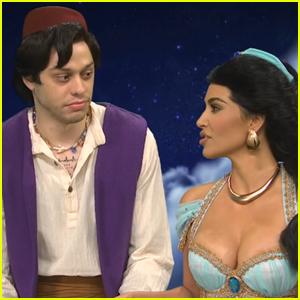 Pete Davidson & Kim Kardashian Kiss in 'Aladdin' Spoof for 'Saturday Night Live' - Watch!