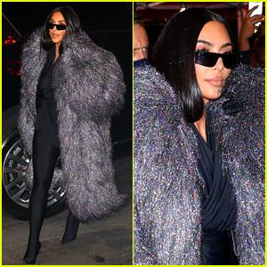 Kim Kardashian Wears a Fuzzy Coat for Dinner After 'SNL' Rehearsal