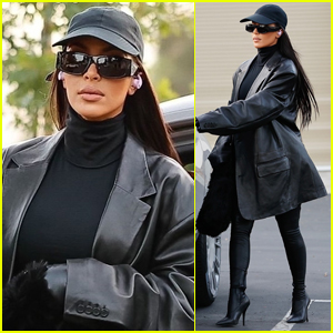 Kim Kardashian Wears Black Leather & Latex Outfit While Running Errands