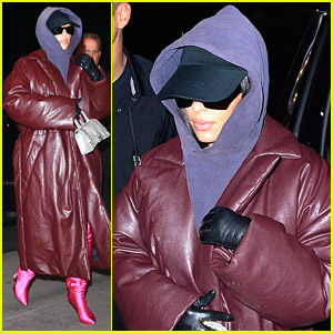 Kim Kardashian Wraps Up In Red Leather Coat After SNL Rehearsals