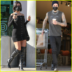Kourtney Kardashian & Travis Barker Go Grocery Shopping Together in Calabasas