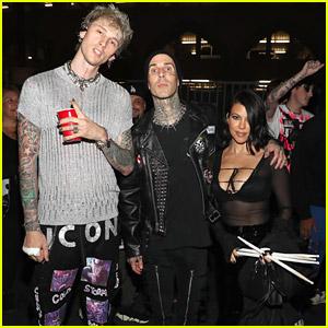 Kourtney Kardashian & Travis Barker Hang With Machine Gun Kelly Backstage At His Concert in LA