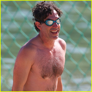 Sacha Baron Cohen Goes for Dip in the Ocean in Sydney